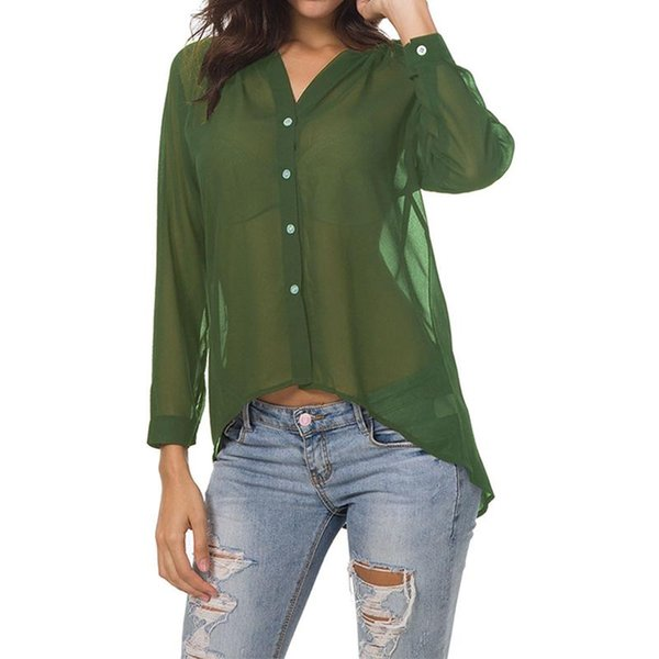 Casual And Fashionable Women Blouse Shirts Collarless Long Sleeves V-Neck Solid Autumn Chiffon Shirt Top