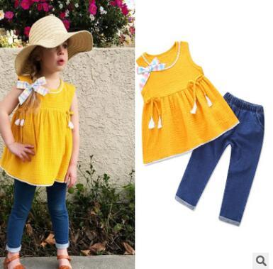 Girls Outfits 2018 Summer Sleeveless Vest Tops Dress Denim Jeans Pants Fashion Children Girls Clothes Set 2PCS Outfits Clothing for 1-6Y