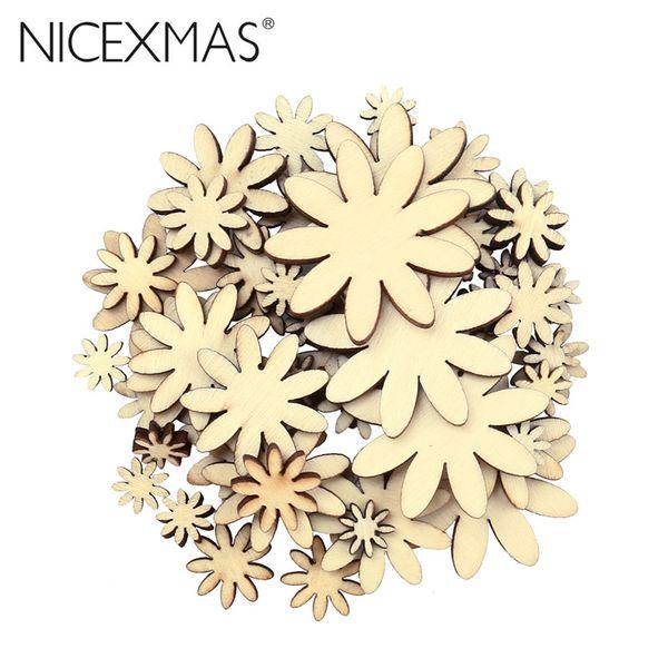 50pcs Eco-friendly Plum Embelishment Decorative Floral Ornament Wood Craft Christmas Wedding Party Decor Favors
