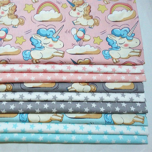 half meter unicorn stars cotton fabric infant baby bedding patchwork fabric tecido quilting crafts material sewing tissue A524