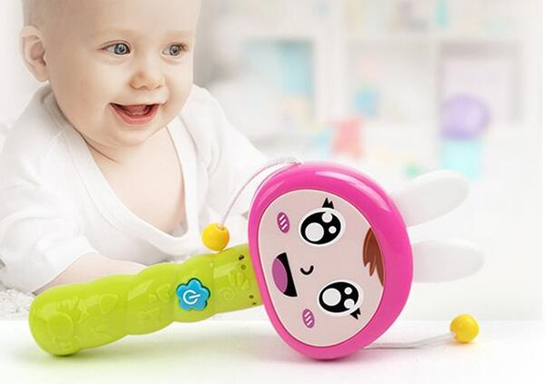 Free Shipping 0-1 year old baby newborn baby toys drum drum rattle Rattle toy with music