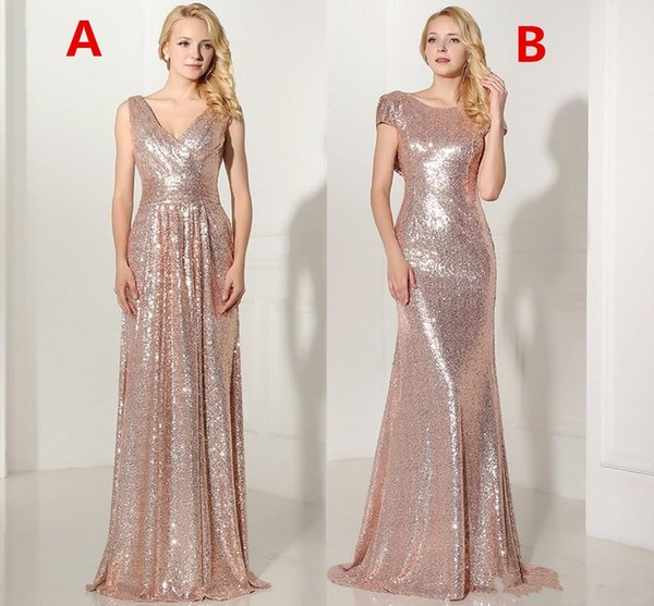 Compre 2108 Nuevo Barato Rose Gold Lentejuelas Sexy Con Cuello En V Vestidos Largos De Dama De Honor Plisado Backless Formal Prom Vestido De Noche
