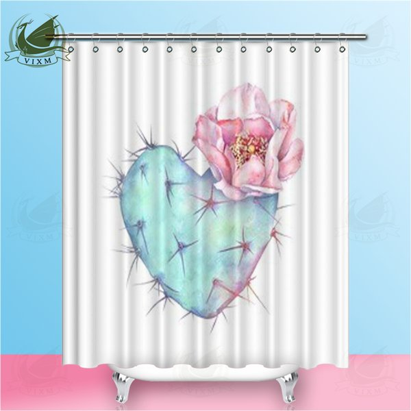"""Vixm Home Cactus series Shower Curtain Plant bath curtain for Bathroom With Hooks Ring 72"""" X 72"""""""