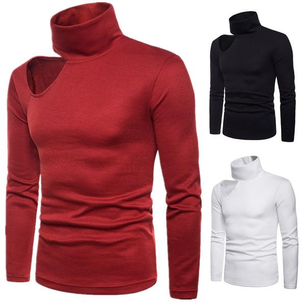 Новый повседневная мода мужская вязаные свитера сплошной цвет высокий воротник без бретелек Sexy Hole Design пуловеры мужчины свитер с длинным рукавом человек футболки