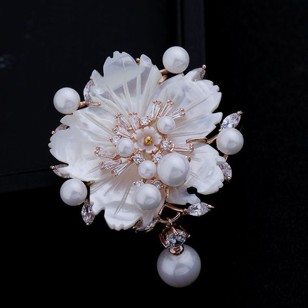 Stunning Look White Mother of Pearl Flower Brooches CZ Marquise Rose Gold Plated Pistil Plum blossom Floral Pins Vintage Jewelry