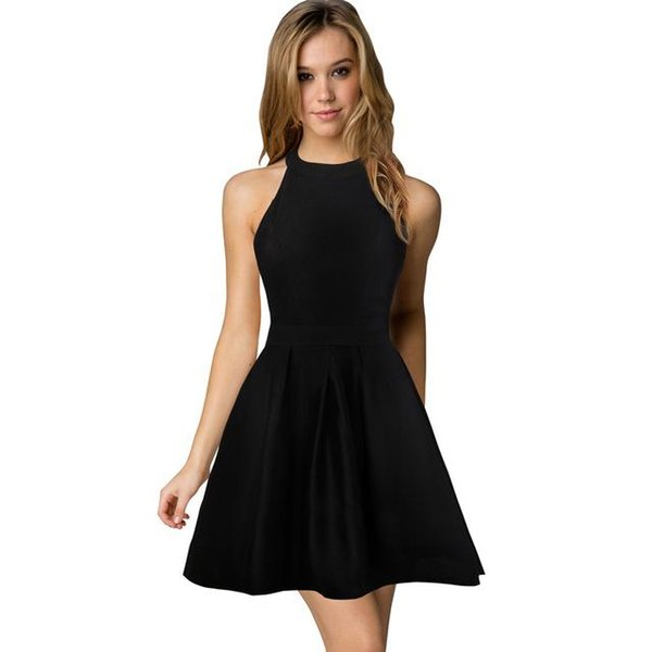 New Arrival Womens Cute Evening Homecoming Cocktail Sexy Nightclub Halter Neck Blackless A-Line Black Dress Short 2018