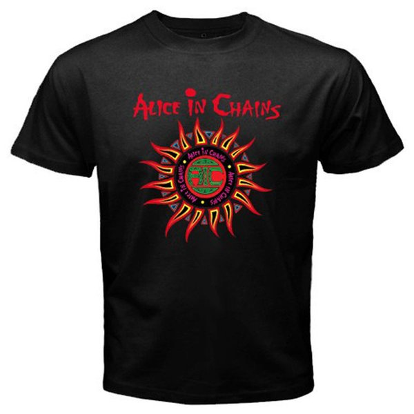 ALICE IN CHAINS Sun Logo Rock Band Music Album Men's Black T-shirt Size S to 3XLO-Neck Short-Sleeve T Shirts