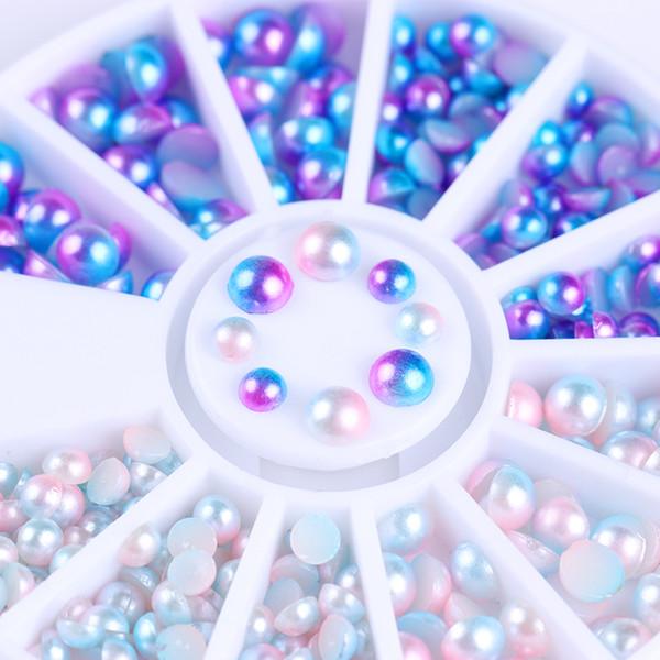 Semi-círculo pérola talão decoração de unhas gradiente fundo plano azul branco tamanho misto manicure 3d decoração de unhas