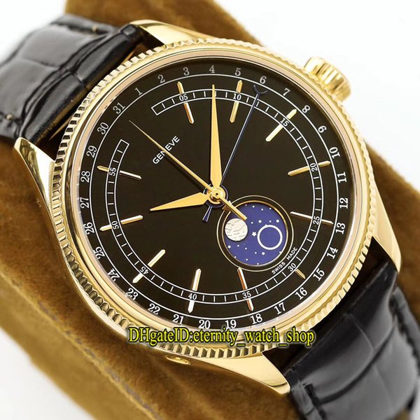 Big factory Luxry Cellini m50535-0002 Black Dial Refit 3195 Automatic Moon Phase Mens Watch Sapphire Glass Gold Case Leather Strap Watches