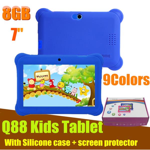 Q88 Tablet 7 Zoll Android 4.4 Quad Core A33 8 GB + 512 MB Bluetooth 4.0 Dual Kamera KidsTablets PC mit Silikonhülle für Kinder Geschenk