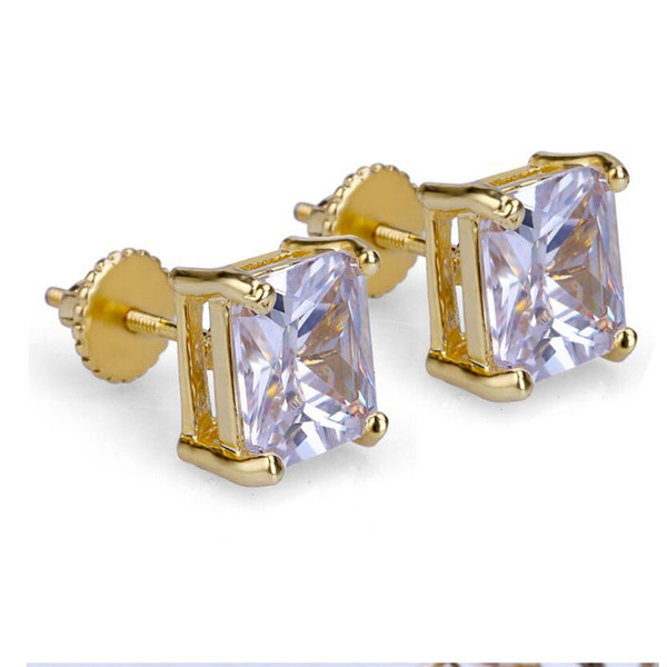 Hip Hop Bling Stud Earrings Gold/Silver Color Iced Out Micro Pave 6mm CZ Stone Lab D Earrings With Screw Back