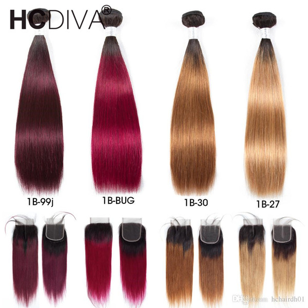 Pre-colored Raw Indian Hair 3 Bundles con cierre 1b / 27 Ombre T1B / 99J Straight Human Hair Bundles con cierre T1B / 30 T1B / BUG HCDIVA