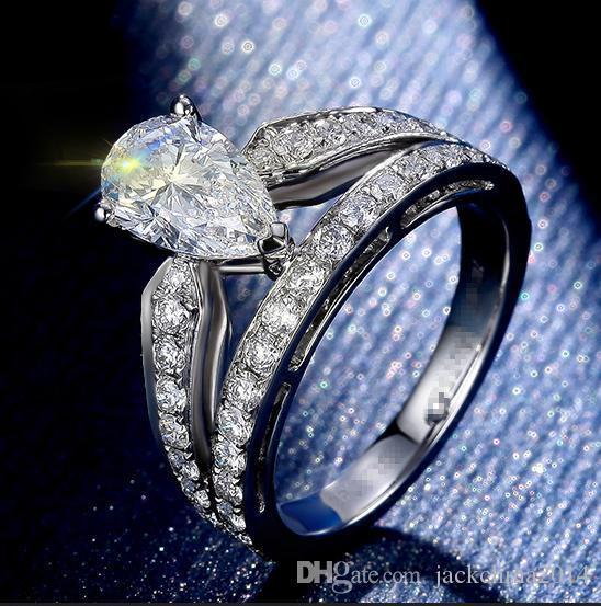 Мода кольца для 2016 роскошные ювелирные изделия Виктория груша вырезать Топаз 925 стерлингового серебра имитация алмазов драгоценные камни свадебные женщины кольцо размер 5-11