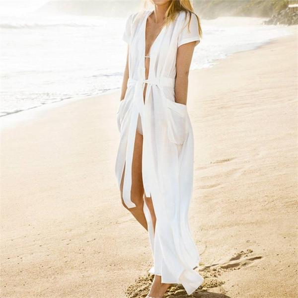 Cep Mayo Cover Up 2018 Yaz Beyaz Bikini Cover Up Kadınlar Hırka Pareo Plaj Cover Up Uzun Plaj Kıyafeti # Q364