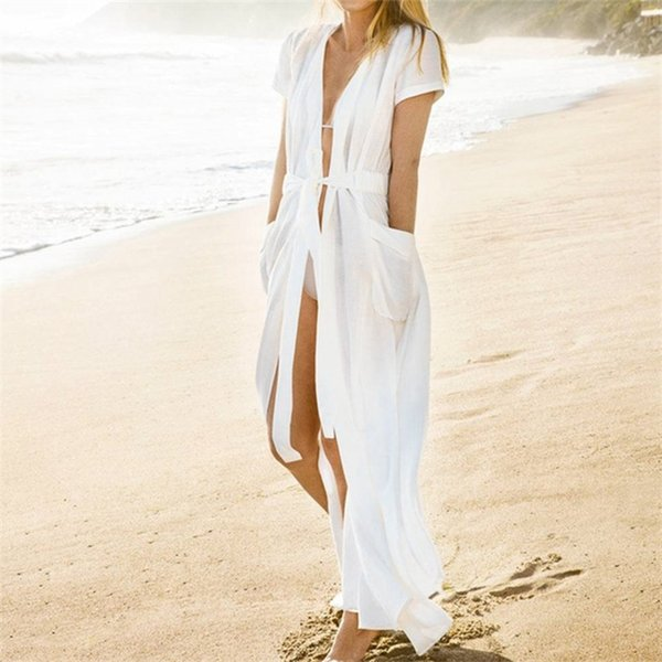 Copricostume costume da bagno tascabile 2018 Summer White Bikini Cover Up Cardigan donna Pareo Beach Cover Up Long Beach Wear # Q364
