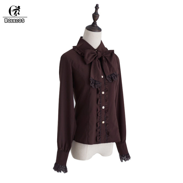 ROLECOS 3 Colors Lolita Blouse For Women Slim Long Sleeve With Collar Bowknot Lolita Shirt Female Classical Tops Gifts