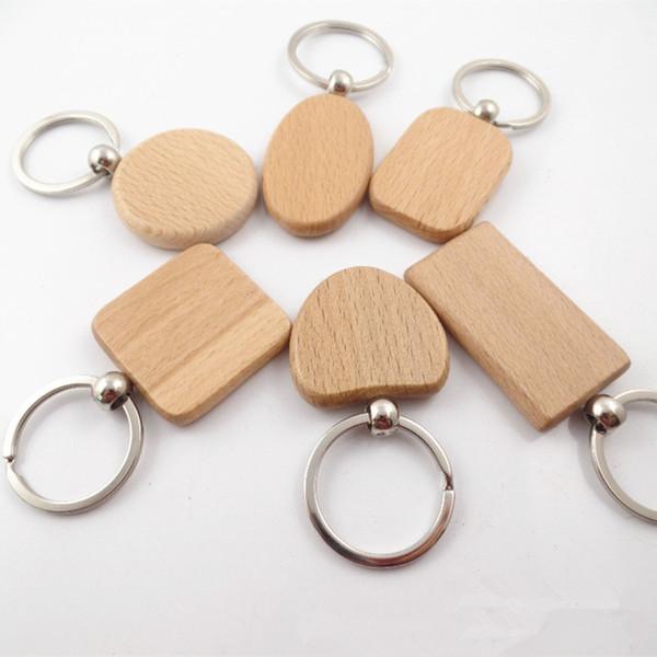 DIY en blanco llaveros de madera llaveros de madera personalizados mejor regalo Mix coche llavero 6 estilos FFA079