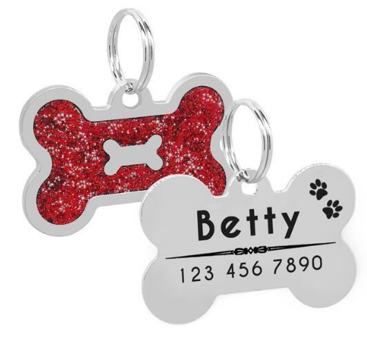 Personalized Dog Tags Engraved Cat Puppy Shiny Glitter Paw Shape Pet ID Name Collar Tag Pendant Pet Accessories