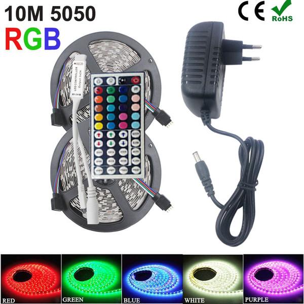 5M 10M LED Strip 5050 led strip strip impermeabile RGB strip led nastro diodo nastro con telecomando IR e adattatore 12v DC