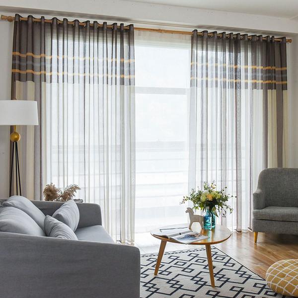 Großhandel Moderne Blau / Kaffee Striped Flachs Vorhänge Für Schlafzimmer  Luxus Tüll Fenster Gardinen Für Wohnzimmer Fenster Behandlungen Vorhänge  Von ...