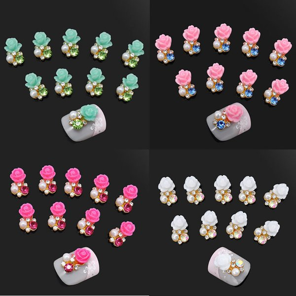 10 Pcs Faux Perle Strass Fleur Nail Art Tranches Stickers DIY Décorations