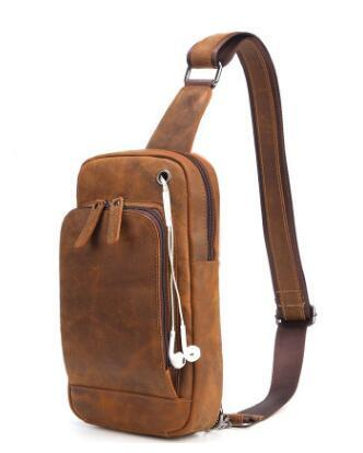 new Vintage Crazy Horse Leather Mens Chest Bag Pack Genuine Leather Crossbody casual small shoulder bag