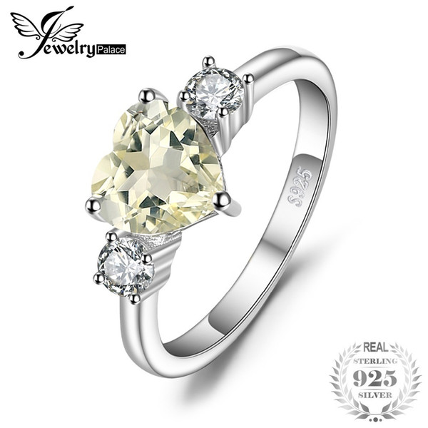 JewelryPalace Love Heart 1ct Genuine Gemstone Lemon Quartz and White Topaz 3 Stone Engagement Ring 925 Sterling Silver Jewelry Y1892705