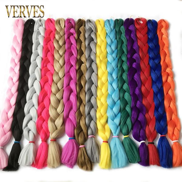 100 cm de comprimento, 165 g / pçs / lote kanekalon Extensões de Cabelo da Fibra Da Trança de cabelo sintético frete grátis crochet