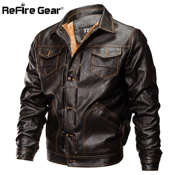 ReFire Gear Winter PU Leather Jacket Men Tactical Army Bomber Jacket Warm  Pilot Coat Thick Wool Liner Motorcycle