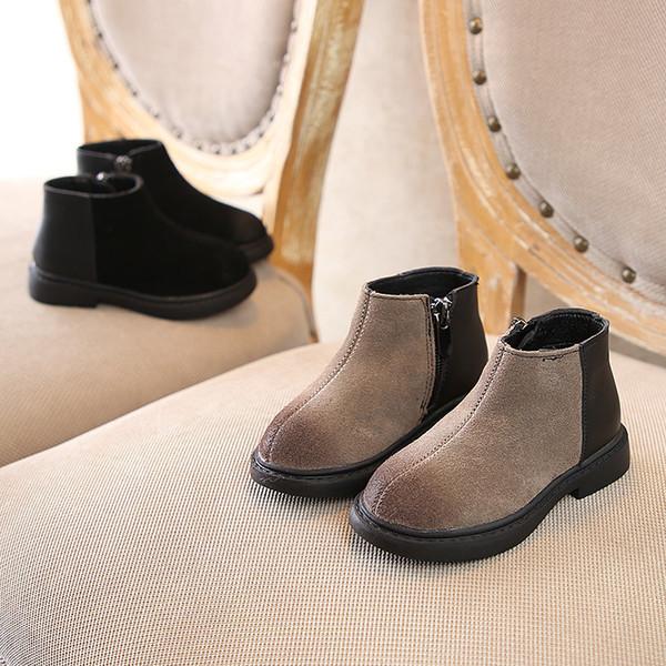 Diseñador Otoño Invierno Niños Botas Bebé Niños Niñas Casual Nubuck Cuero Martin Zapatos Niño Infantil Cálido Zip Anti Slippery Snow Boots
