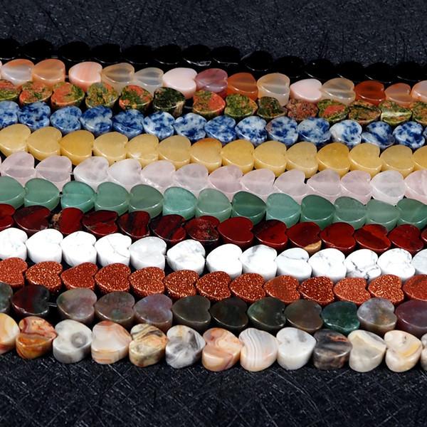 Perle di pietra naturale 10mm a forma di cuore Agata Rosa Cristallo Bianco Turchese Unakite perline di pietra per gioielli che fanno spessore 5mm