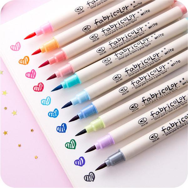 10 pcs / lot stylo calligraphique coloré dessin art stylo calligraphie brosse douce matériel escolar papeterie fournitures scolaires