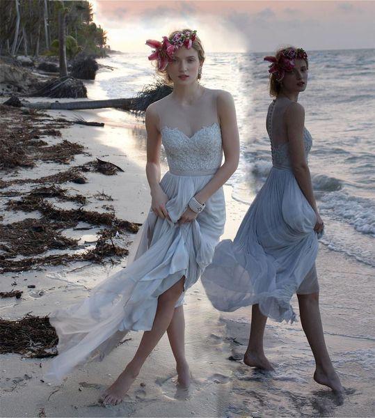 2019 new bohemian Summer chiffon Wedding Dresses sheer neck Vestido De Novia sexy Backless tea length boho Bridal Gowns with Lace Appliques