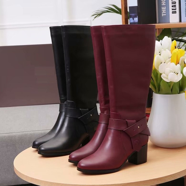 Brand Women cow leather Low Heel Knee High Knight Boots fashion Metal Rivets Rain boots Desert Motorcycle Boots Winter Snow Boots,35-40