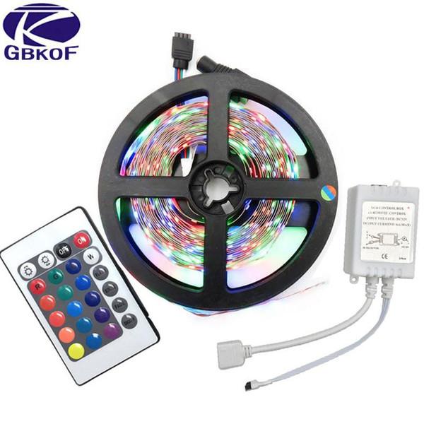 GBKOF 5M RGB LED Strip 3528 SMD 60Leds/M No Waterproof Strip light With 24Keys IR Controller Diode LED Tape Lights Ribbon String