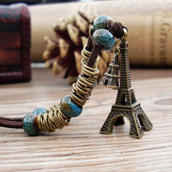 Keramische Halskette Hand-stricken Pullover Kette Blume Glasur Pyramide Porzellan Perle Anhänger Retro Exquisite Lange Hang Chain Fashion Weibliche Schmuck