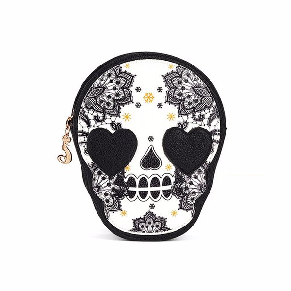 2018 Women Black Skull Shoulder Messenger Bag Handbag Purse Dropship 180223