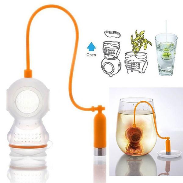 7 Farben Taucher Geformte Teebeutel Siebe Filter Tee-ei Silikon Nette Taucher Teebeutel Für Tee Kaffee Candy Drink Sieb 5 STÜCKE Frei