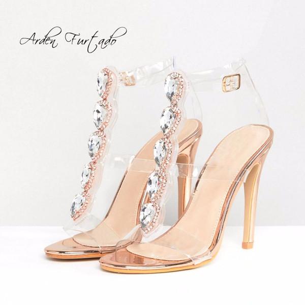 Arden Furtado new 2018 summer pvc high heels 12cm party shoes fashion crystal sandals elegant woman clear shoes women T-strap
