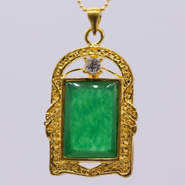 GZJY Chinese Style Gold Color Rectangular Green Stone Pendants Necklaces For Women Lucky Pendant