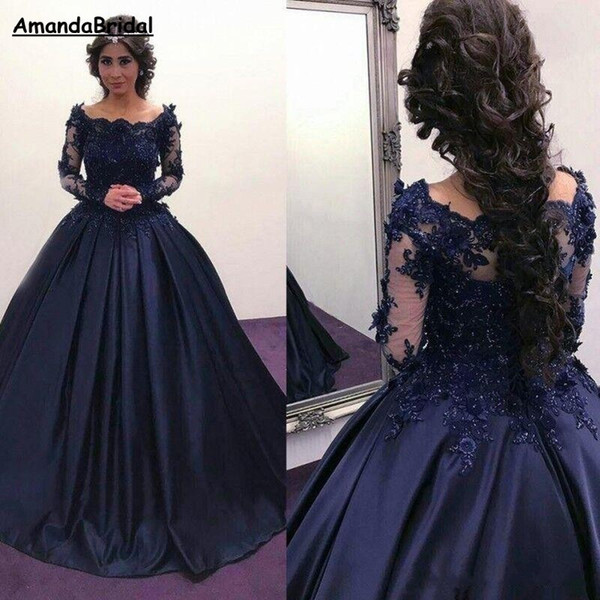 Amandabridal Navy Blue Long Sleeve Prom Quinceanera Dresses 2019 Bateau Lace Satin Masquerade Ball Gown African Evening Formal Party Dress