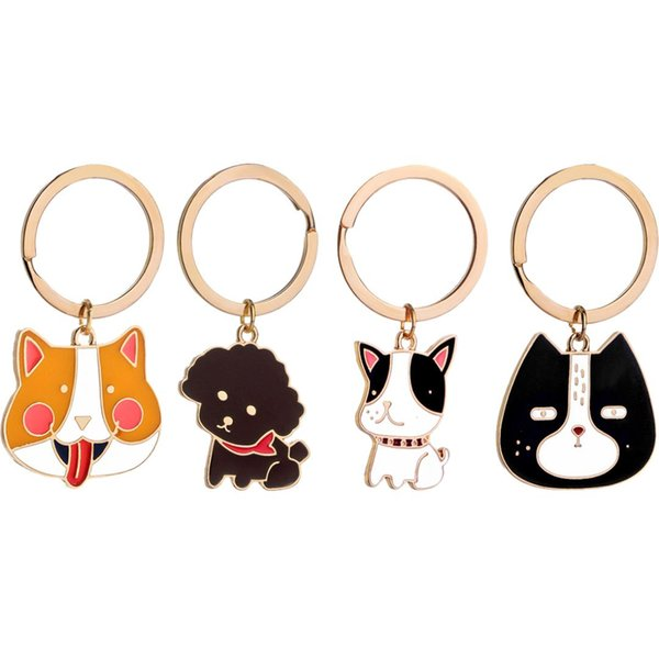 Creative cute animal metal keychain Animal Keychain Dog Black Cat Kitty Bear Crocodile Fox Key Chain Corgi Bulldog Puppy Keyring