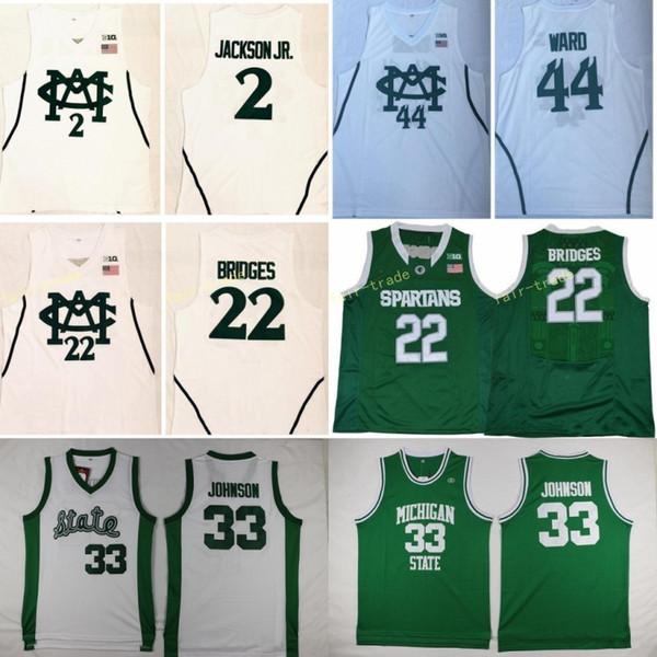 Herren Michigan State Spartans University Trikot 2 Jaren Jackson Jr. 22 Meilen Brücken 44 Nick Ward Basketball Trikots Weiß Schneller Versand