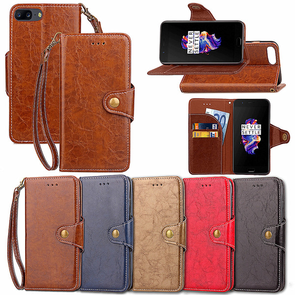 PU Leather Flip Fold Wallet Case with ID Credit Card Slot for OnePlus 3 5 5T