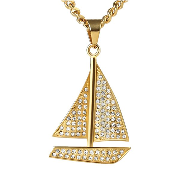 Fashion Hip Hop Mens Long Chain Sailboat Pendant Necklace Jewelry Full Rhinestone Design Popular Necklace With Chain 70cm
