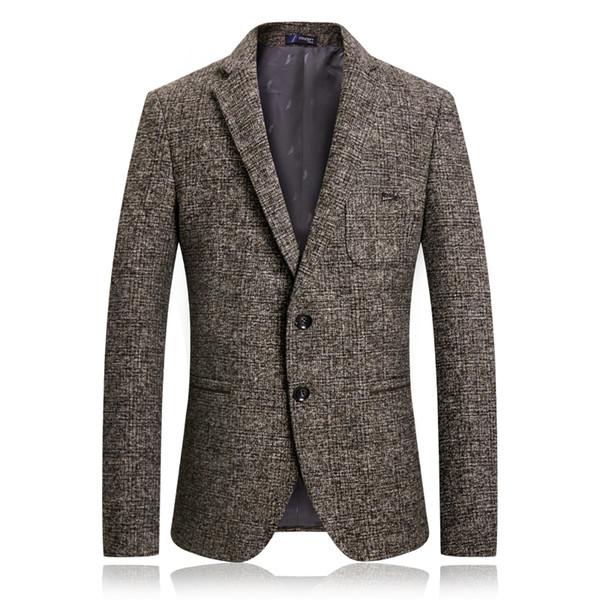 Herbst Winter Herren Blazer Jacke Männer Baumwolle Business Einreiher Blazer Mens Casual Taschen Anzug Männlichen Mantel Masculino