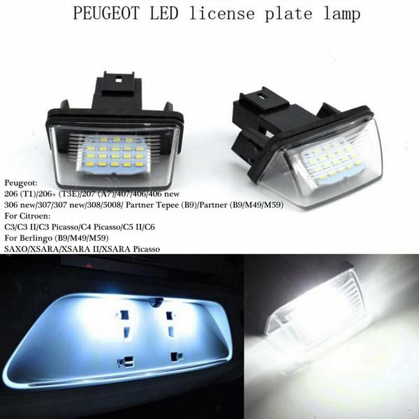 Super Lumineux 2PCS / lot 12V 18 Led Licence Plaque d'immatriculation Ampoules Lumière de licence pour PEUGEOT 206 207 306 Citroen C3 Picasso C4 5 XSARA SAXO