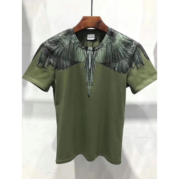 Especail de fábrica Marca CAMISAS dos homens MB pena imprimir Verde Animal Top Grade 100% REDONDO PESCOÇO T-Shirt para Homens camisa MARCELO BURLON