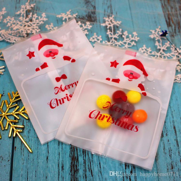 Creative Santa Claus Cookie Bag Candy Food Gift Bag Sealing Christmas Night Cookie Bag 8.5*11cm new arrive