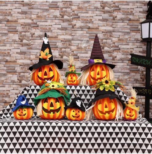 Diy oco brilhante tampa de espuma de abóbora led light performance prop bar halloween decoração espantalho ornamentos abóboras lanterna partido